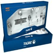 Imagem de Kit De Acessórios para Banheiro de Parede Aço Inox E Abs 5 Peças Prata - Vega Fabrimar