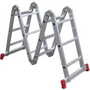 Imagem de Escada Multifuncional em Alumínio 3,39m 12 Degraus Prata 150kg - Botafogo