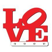 Imagem de Porta Chaves Love 4 Ganchos Vermelho - 2554AD - Cia Laser