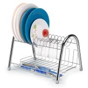 Imagem de Escorredor de Louças de Aço Inox Cromado com Porta Talheres 14 Pratos Prata - Arthi