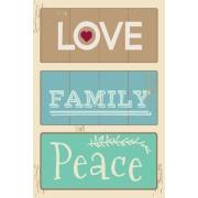 Imagem de Placa Decorativa em MDF 30x20 cm Love Family Peace 68416 - Kapos