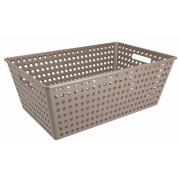 Imagem de Cesta Organizadora de Plástico 59x38cm Retangular Warm Gray - Coza