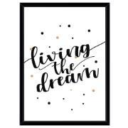 Imagem de Quadro Decorativo 73x53 cm Living The Dream Preto 540543 - Euroquadros