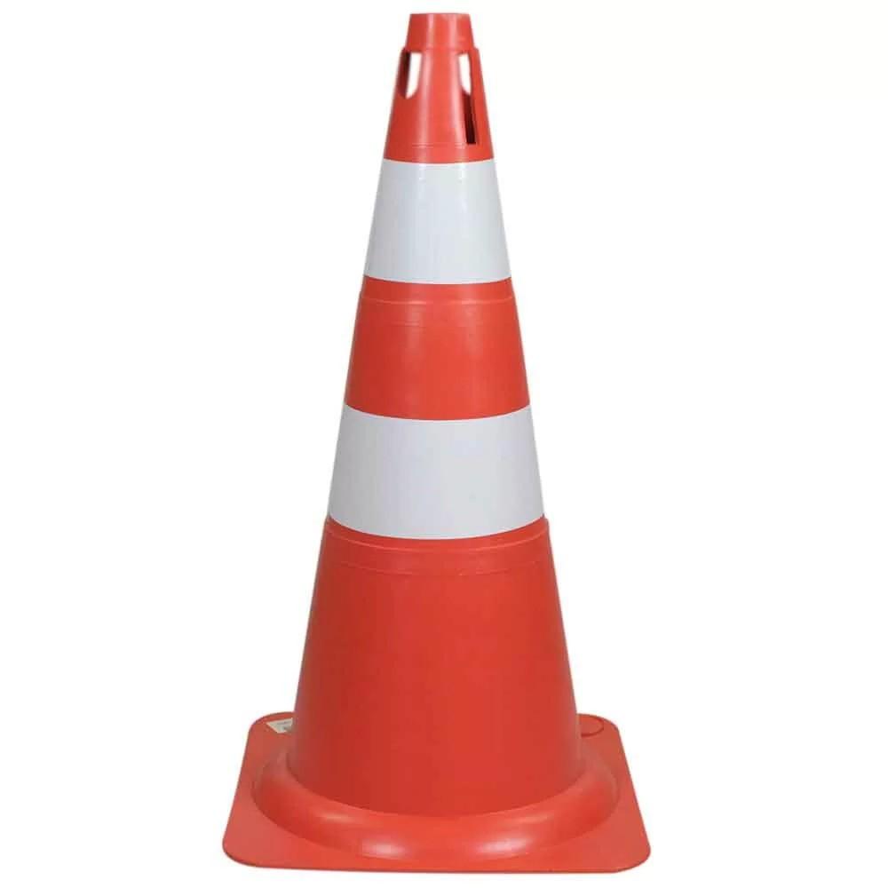 Cone de Sinalizacao 75 cm 2 Faixas Laranja e Branco - Plastcor