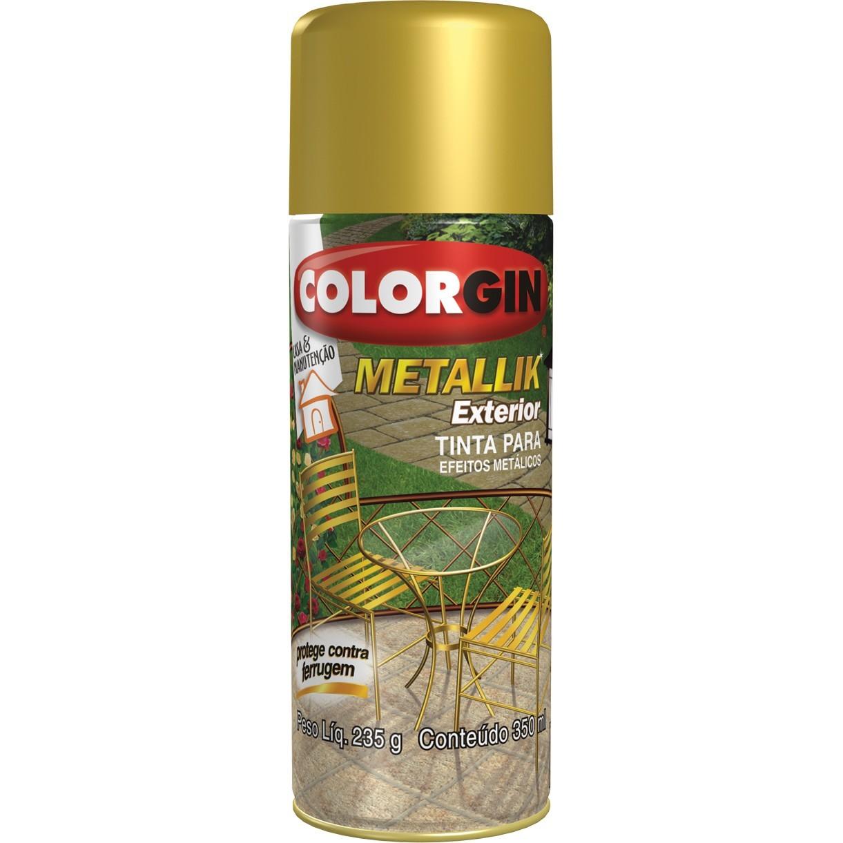 Tinta Spray Metalico Metallik Externo - Prata - 350ml - Colorgin