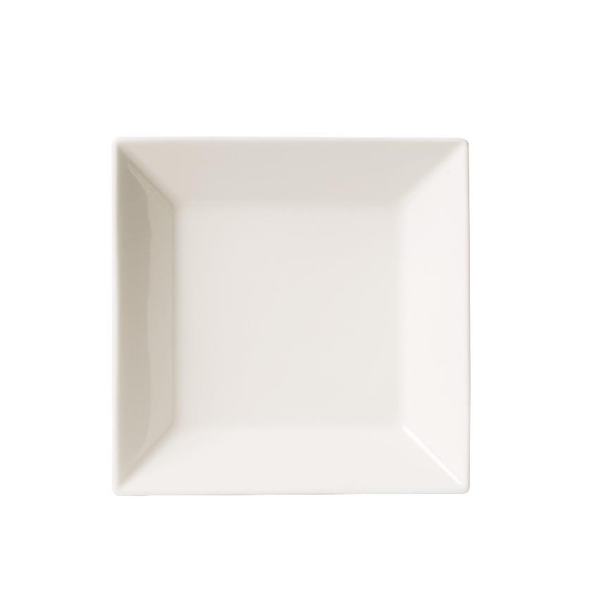 Prato Fundo Quadrado em Porcelana Quartier White Branco 21cm - Oxford