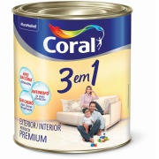 Tinta Acrílica Fosco Premium 0,9L - Branco Neve - 3 Em 1 Coral