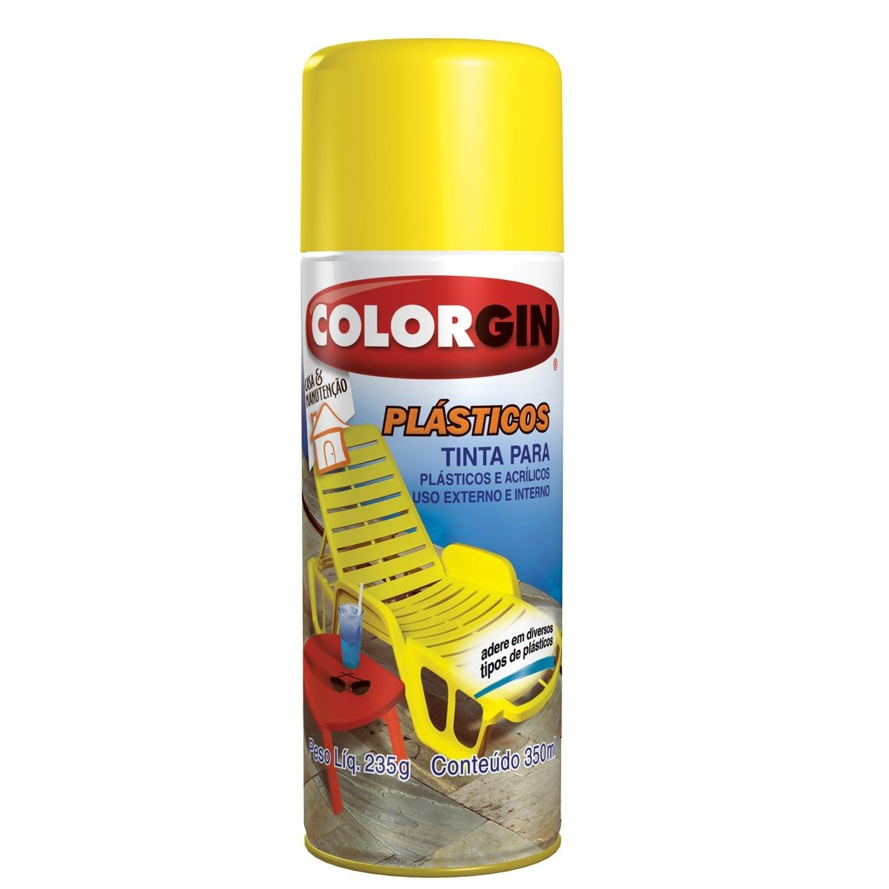 Tinta Spray Fosco Plastico Interno e Externo - Preto - 350ml - Colorgin