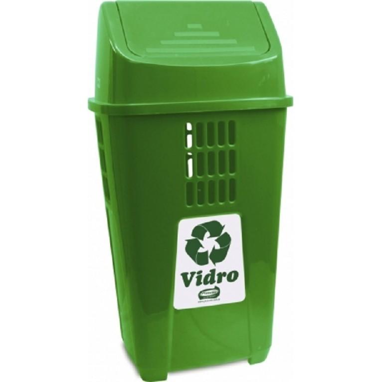 Lixeira 50L para Coleta Seletiva Verde Vidro - Plasvale