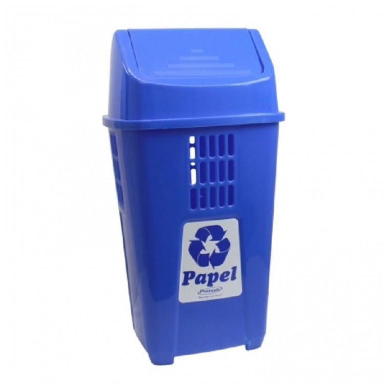 Lixeira 50L para Coleta Seletiva Azul Papel - Plasvale