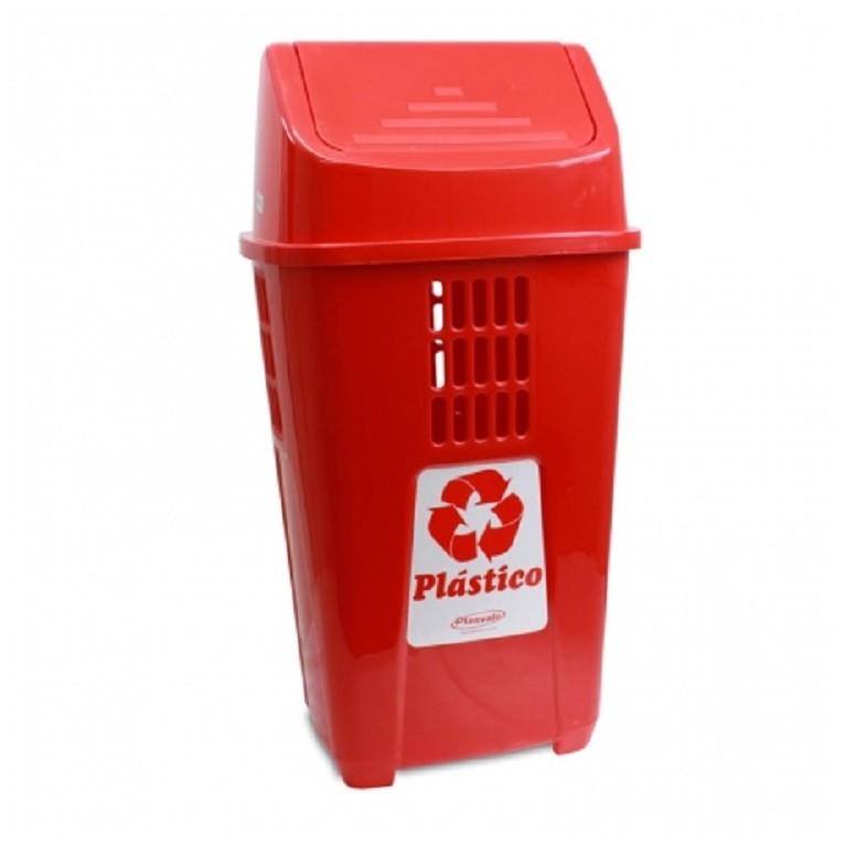 Lixeira 50L para Coleta Seletiva Verde Plastico - Plasvale