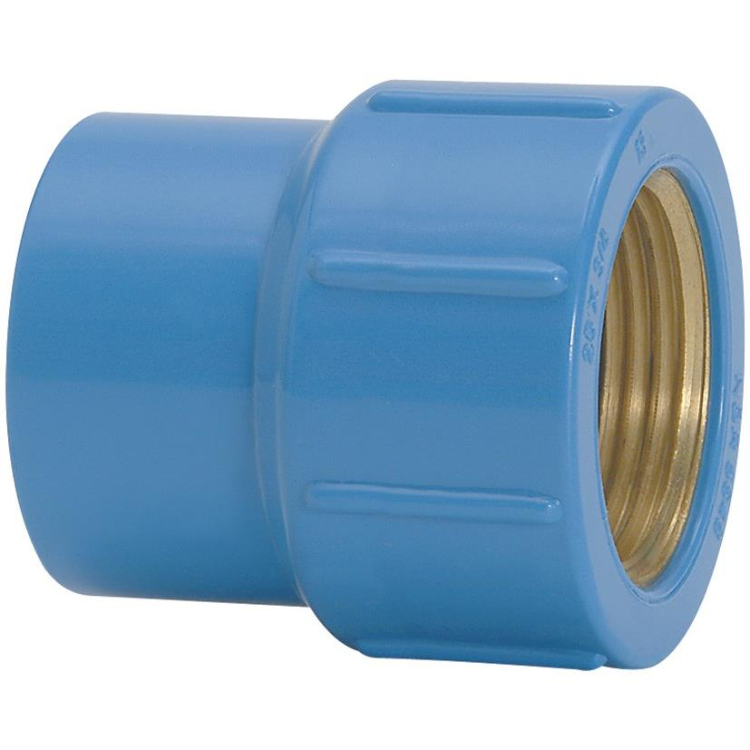Luva com Bucha de Latao PVC Azul 25 mm x 12 - Amanco