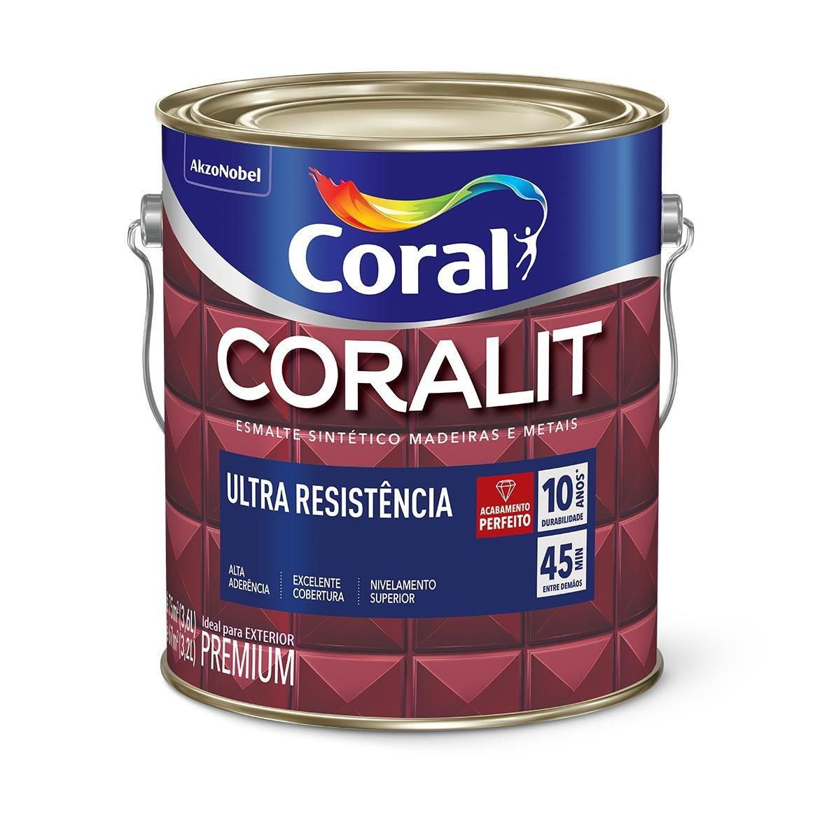 Tinta Esmalte Sintetico Acetinado Premium 36L - Branco Neve - Coralit Coral