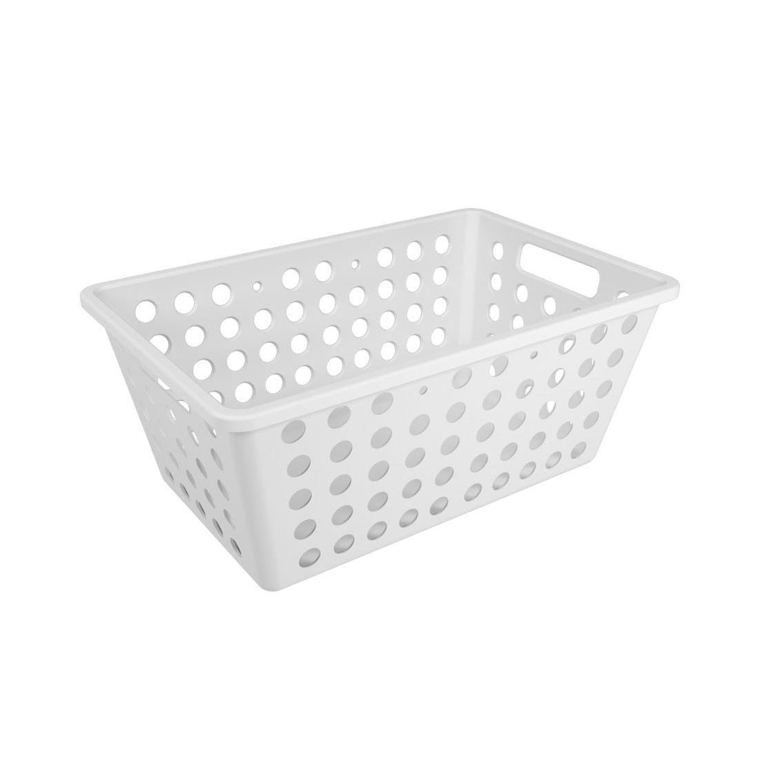 Cesta Organizadora de Plastico 28x19cm Retangular Branca - Coza
