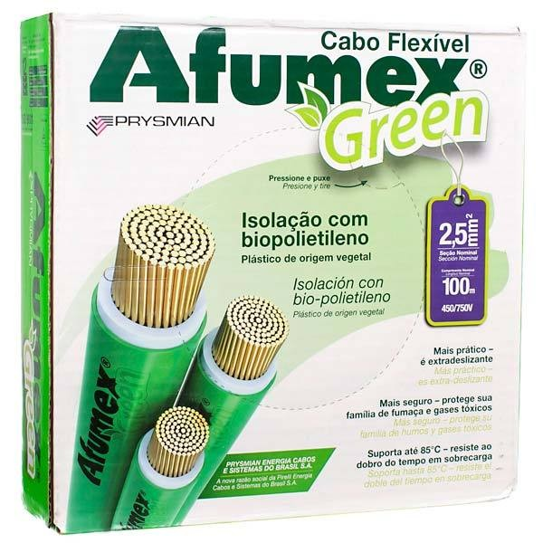 Cabo Flexivel Antichamas Afumex Green 250 mm Caixa com 100 m 750V 1 Condutor Vermelho - Prysmian