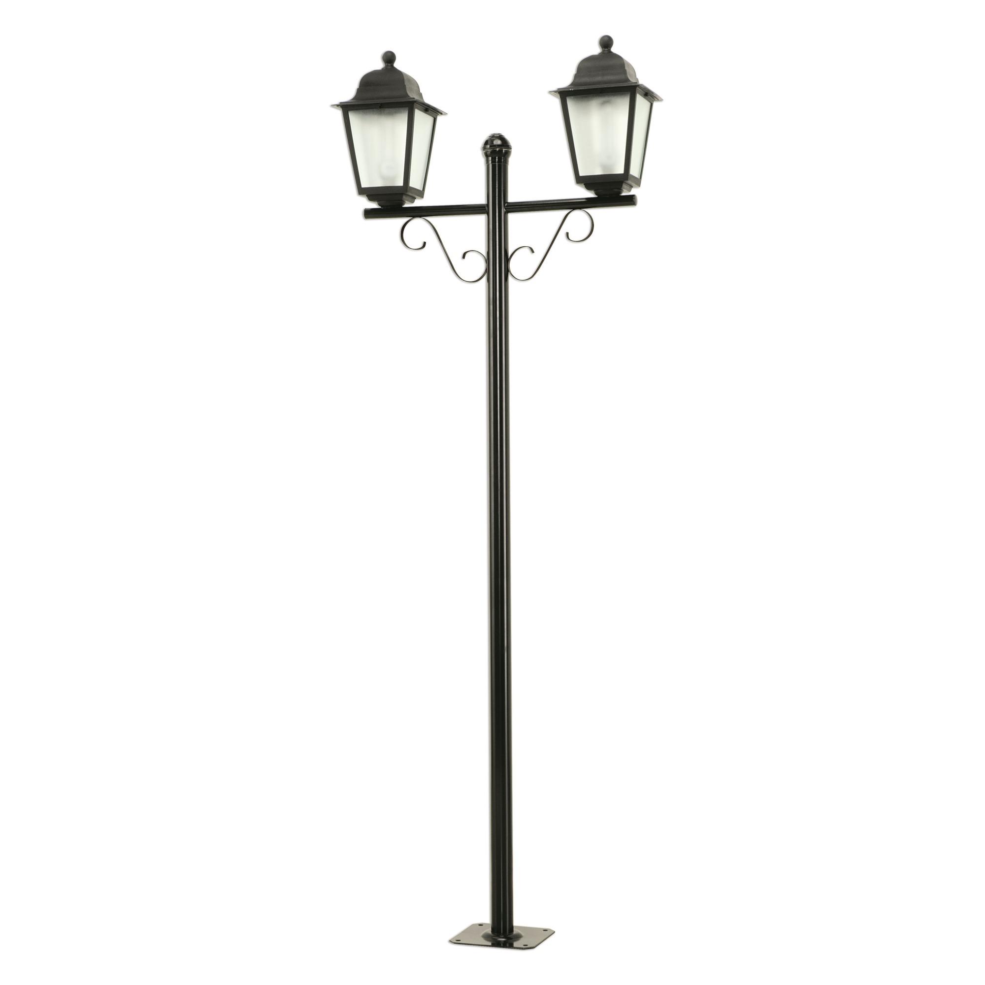 Poste de Aluminio Preto Completo 2 Lampadas 204m 117 - Dital