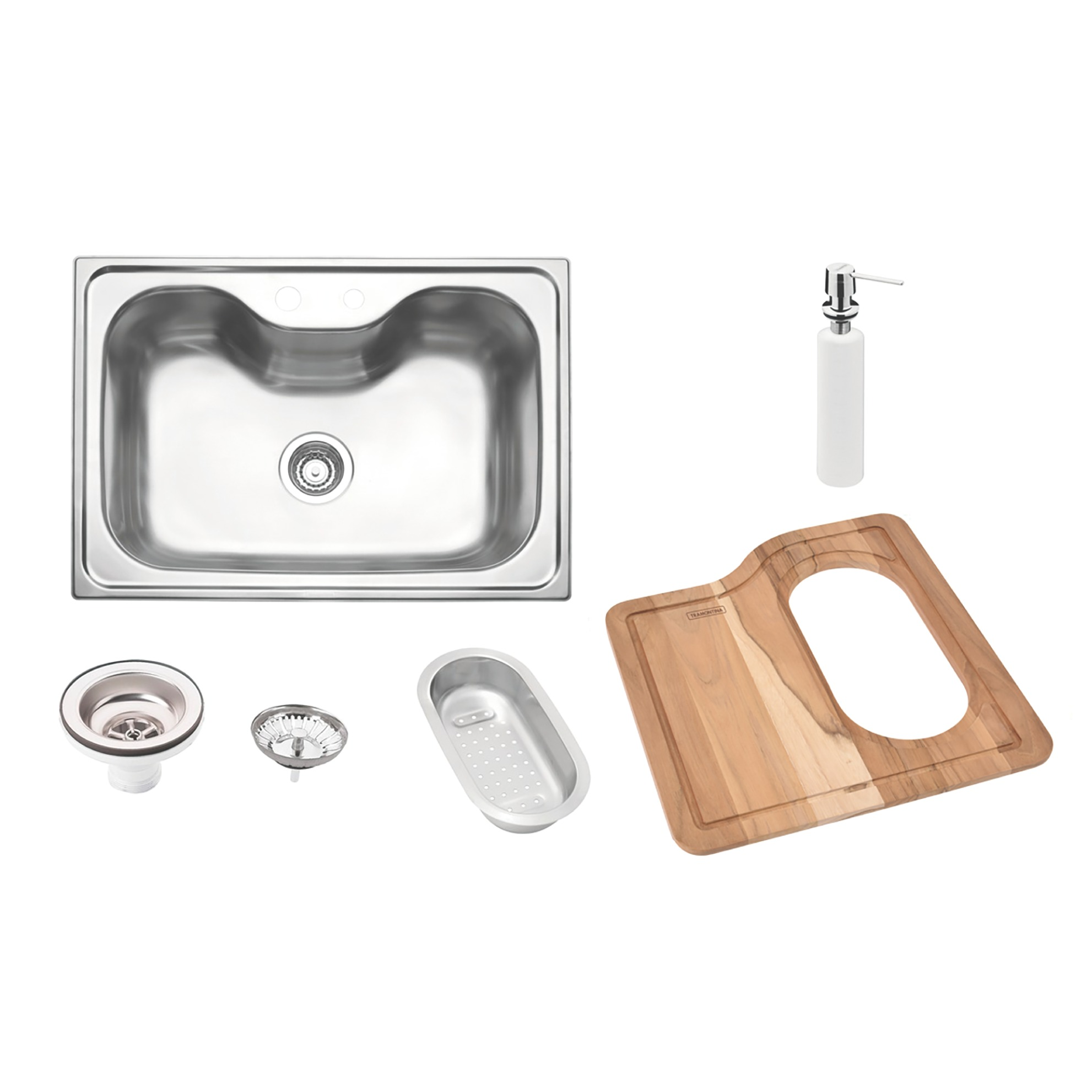 Cuba Simples para Cozinha de Sobrepor de Aco Inox Acetinado 68cm x 48cm com Valvula e Tabua Prata - 93806102 - Tramontina