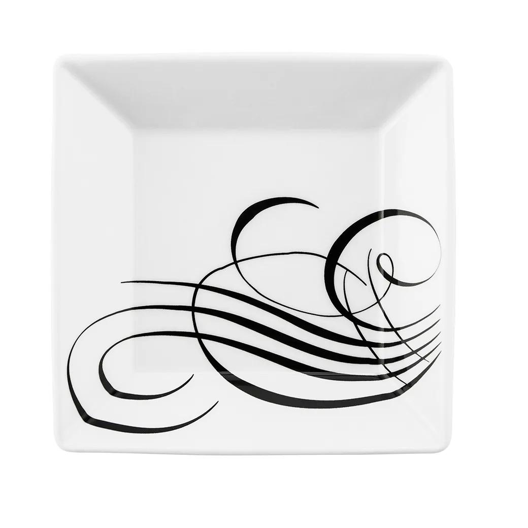 Prato Fundo Quadrado em Porcelana Quartier Tatoo Branco 21cm - Oxford