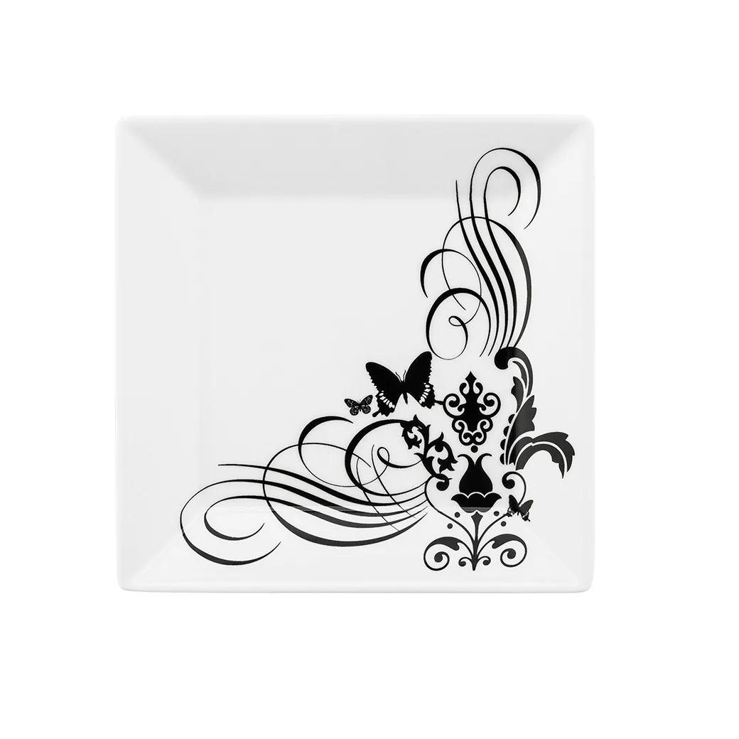 Prato de Sobremesa Quadrado em Porcelana Quartier Tatoo Branco 20cm - Oxford
