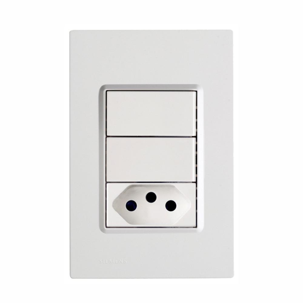 Conjunto 2 interruptores 1 tomada 10A Delta - Iriel