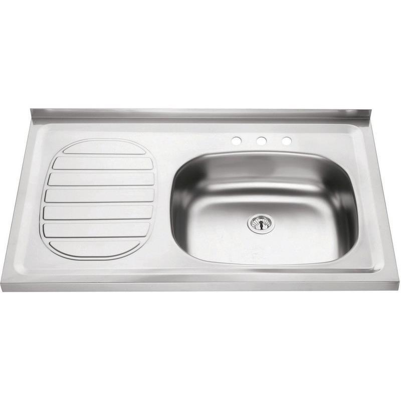 Pia Simples para Cozinha de Aco Inox Pre-polido 50cm x 80cm com Valvula Cinza - 93420507 - Tramontina