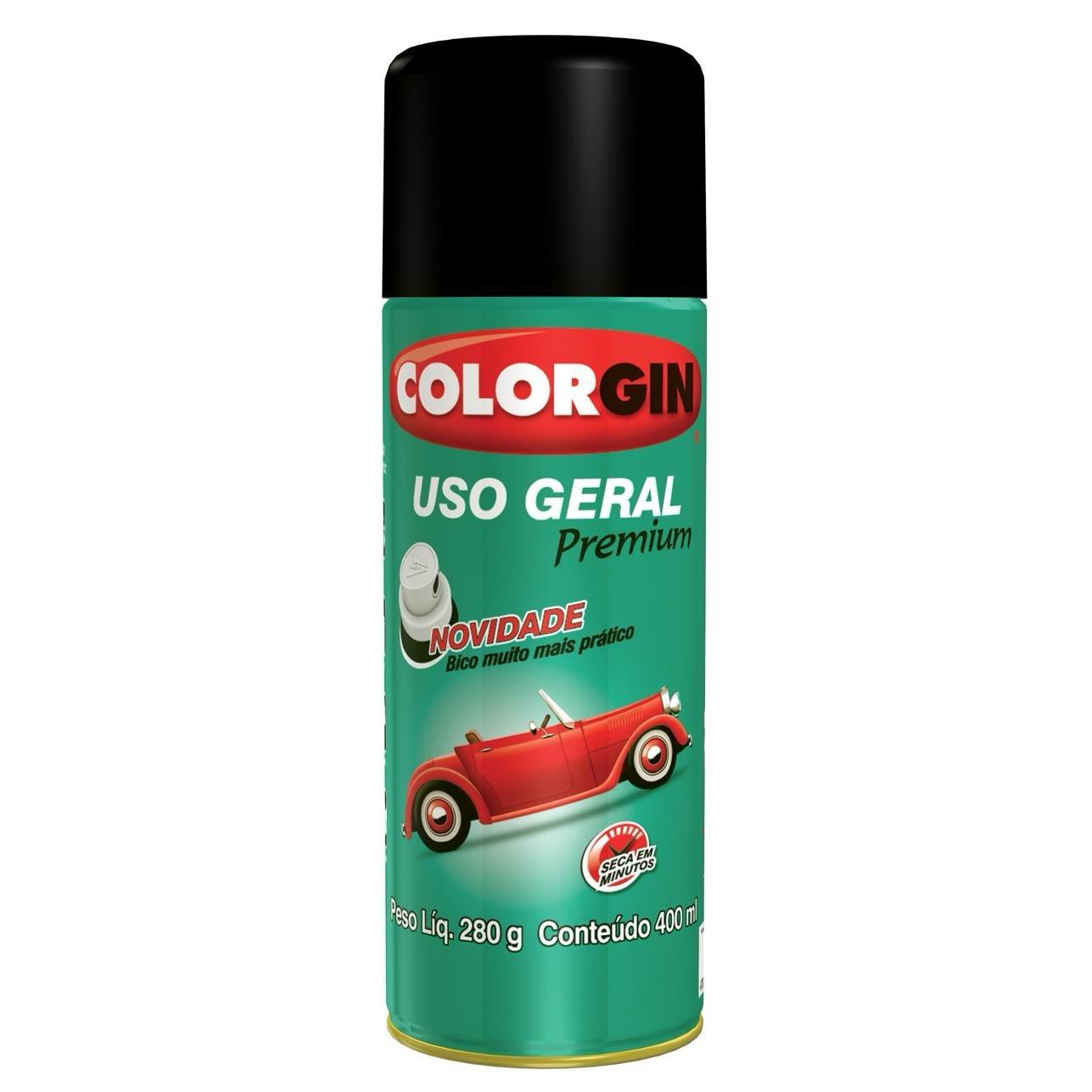 Tinta Spray Brilhante Uso Geral Interno e Externo Primer Rapido - Cinza Placa - 400ml - Colorgin