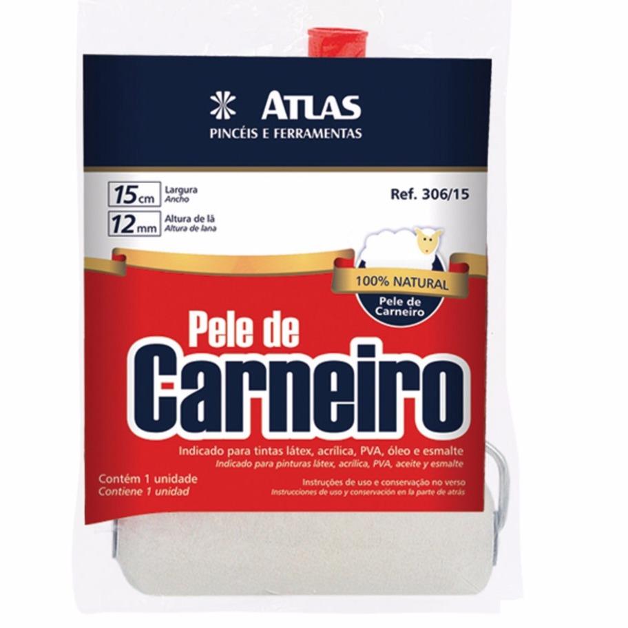 Rolo de Pele De Carneiro 15cm Com Suporte - 306 - Atlas
