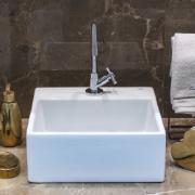 Cuba de Louça de Apoio com Mesa Quadrado 35x35 cm Branco - Basic Celite