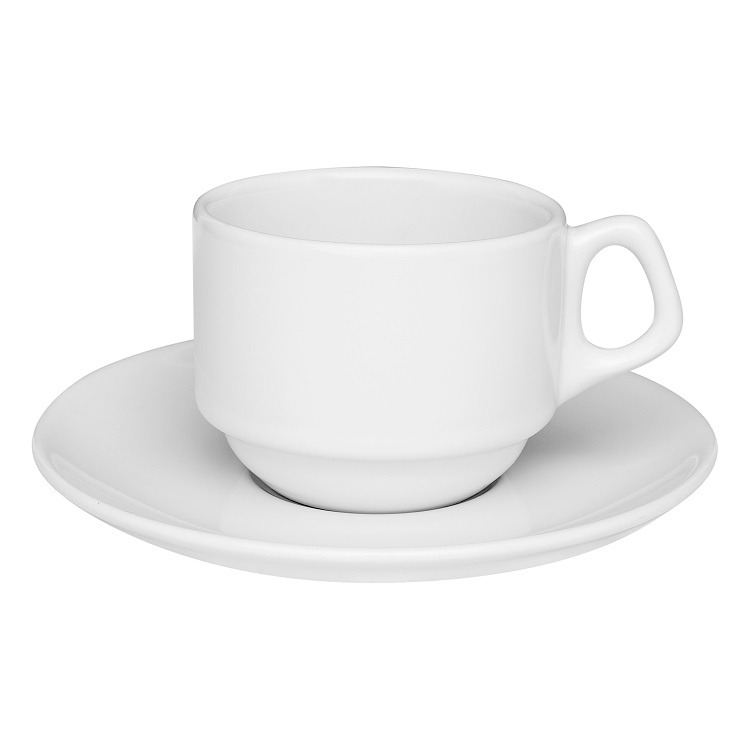 Xicara de Cha Gourmet Pro de Porcelana 220ml com Pires Branco - Oxford