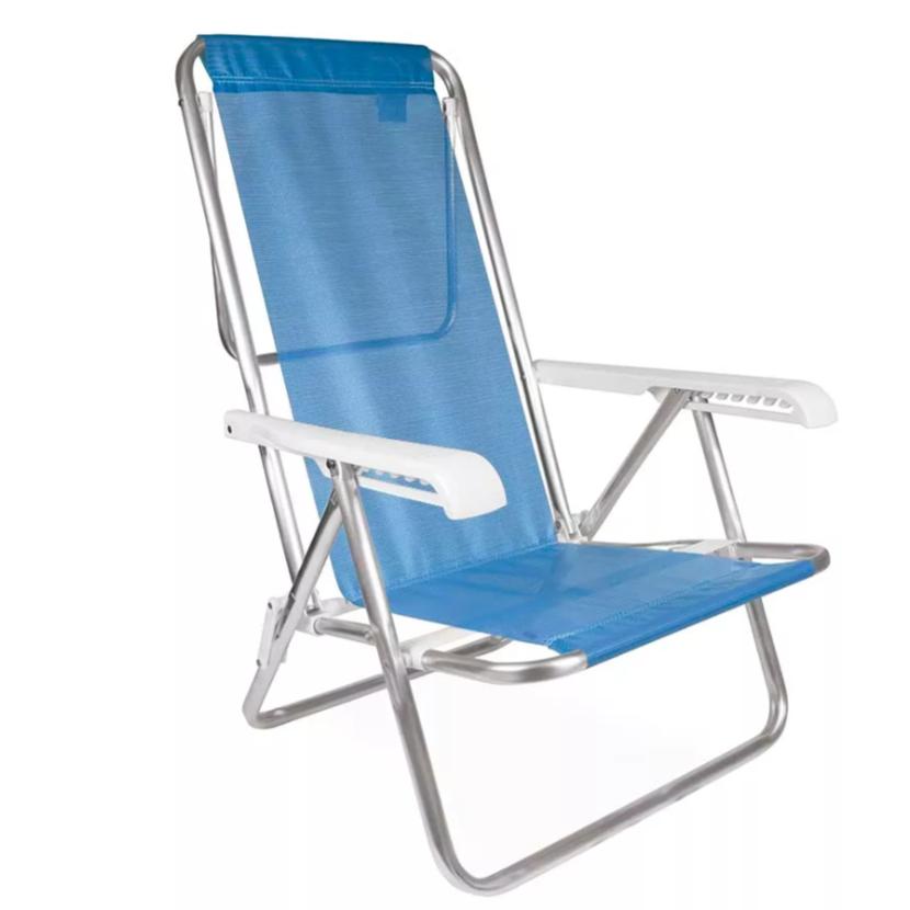 Cadeira de Praia Aluminio Reclinavel 8 Posicoes Azul 2267 - Mor