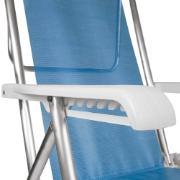 Cadeira de Praia Alumínio Reclinável 8 Posições Azul 2267 - Mor