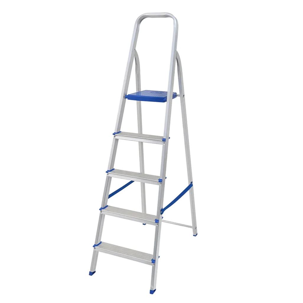 Escada Tesoura em Aluminio Domestica 5 Degraus Prata 120Kg - 5103 - Mor