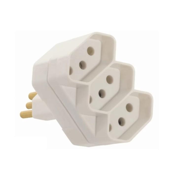 Plug T 3 Saidas 2PT 10A Cinza - Fame