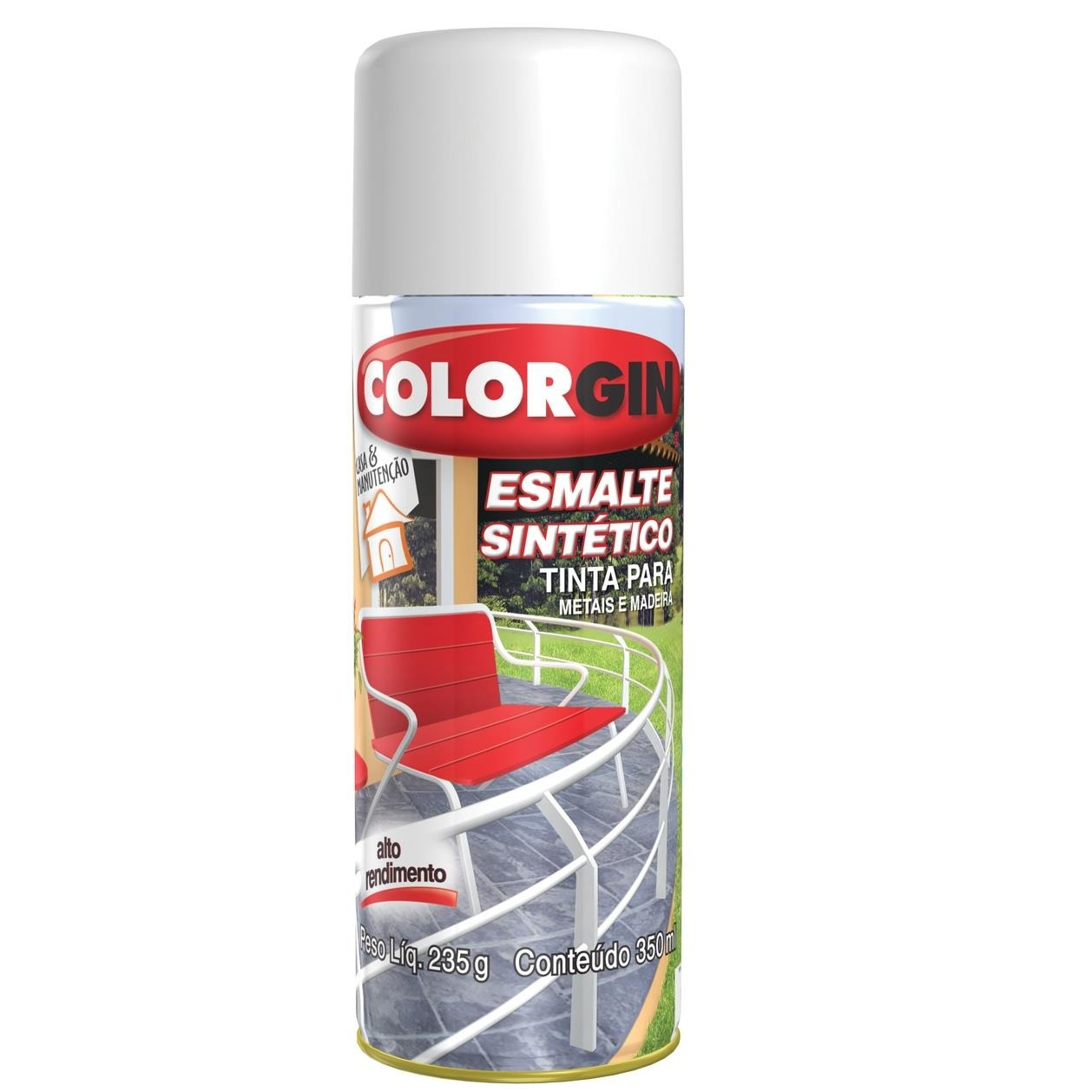 Tinta Spray Brilhante Esmalte sintetico Interno e Externo - Preto - 350ml - Colorgin