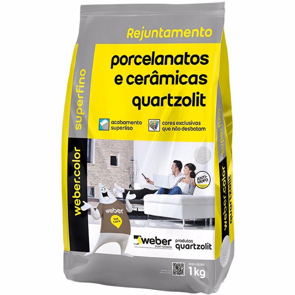 Rejunte Porcelanato Weber Cinza Platina Saco 1kg - Quartzolit