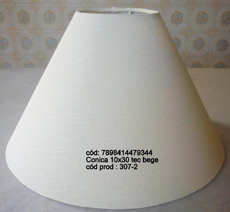 Cupula para Abajur Conica em Tecido 10cm x 30cm Bege - Cupulas Sao Jorge