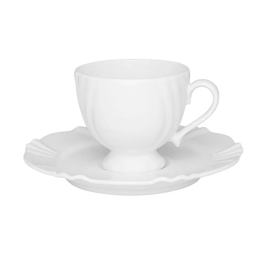 Xicara de Cafe Soleil de Porcelana 75ml com Pires Branco - Oxford