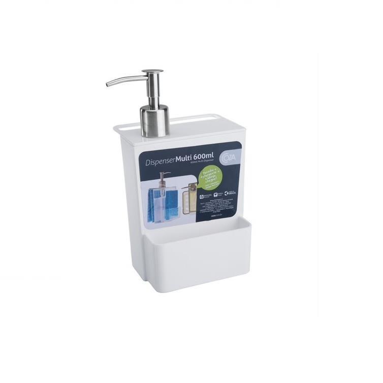 Dispenser com Suporte para Esponja Plastico 600ml Branco 207190007 - Coza
