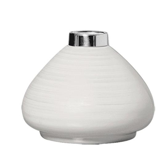 Vaso Decorativo Ceramica 14cm Redondo Branco 1214 - Ana Maria