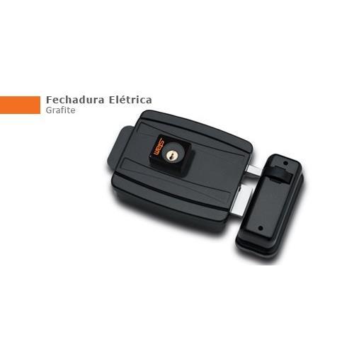Fechadura Eletrica 40 mm Abertura para Dentro 12V Grafite - Stam Met