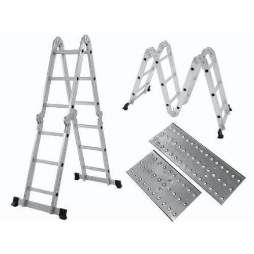 Escada Multifuncional com plataforma em Aluminio 339m 12 Degraus Prata 150kg - Mor