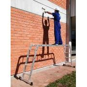 Escada Multifuncional com plataforma em Alumínio 3,39m 12 Degraus Prata 150kg - Mor