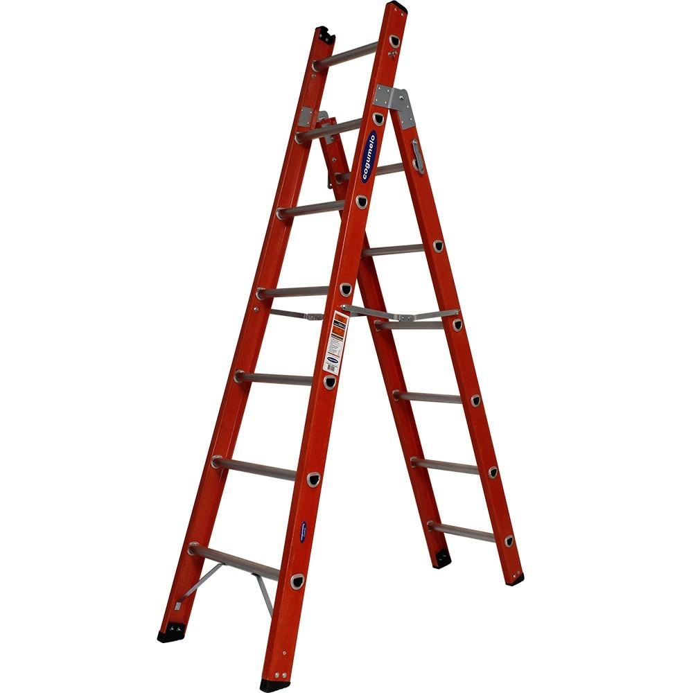 Escada Tesoura e Singela em Fibra de Vidro 385m e 6 Degrais 120kg - Cogumelo