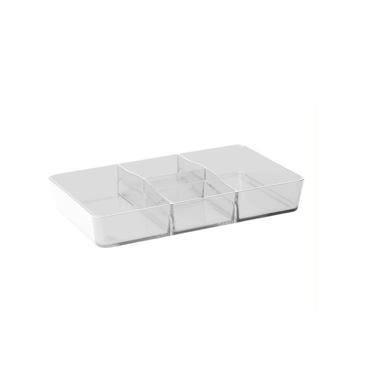 Organizador de Plastico Retangular Cristal Retro 265 x 165 x 45cm com Divisorias - Coza