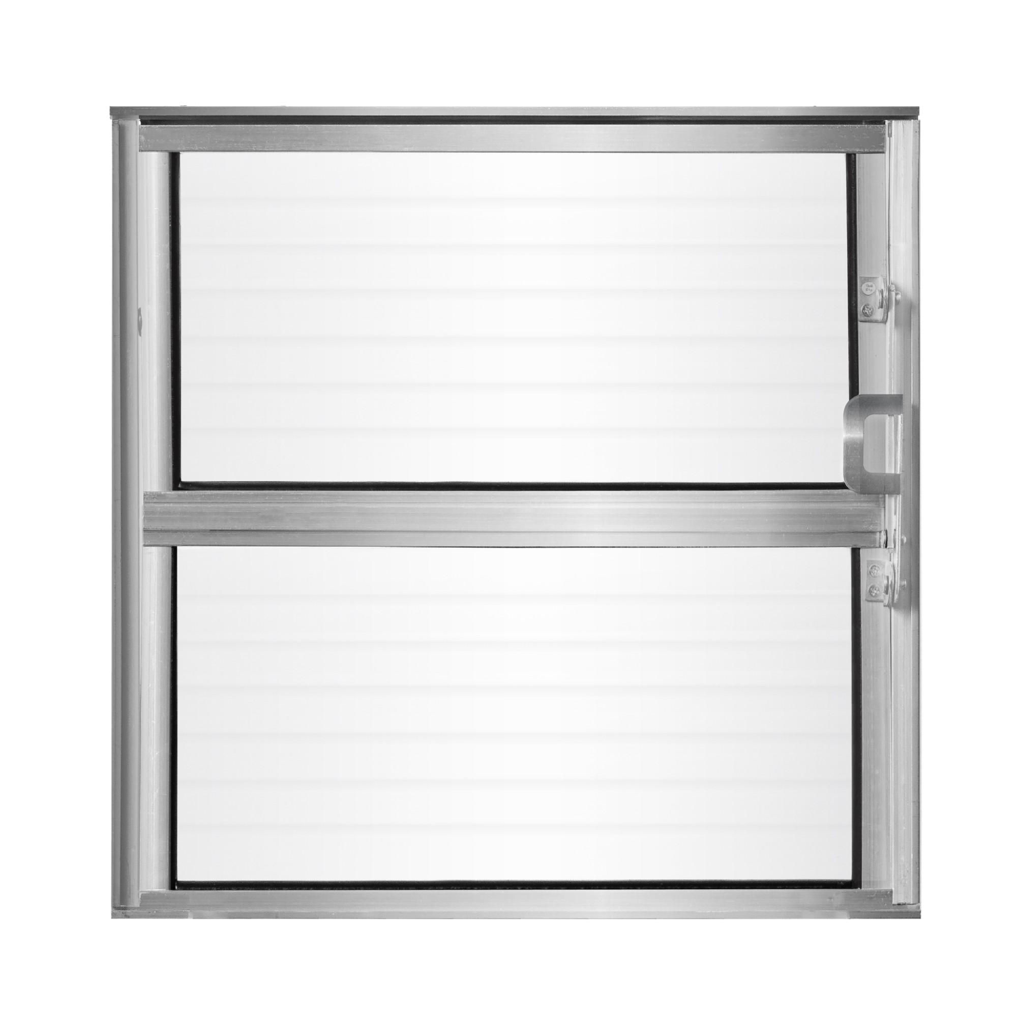 Janela de Abrir Basculante de Aluminio Vidro Canelado 40x40 cm Cinza - Aluvid