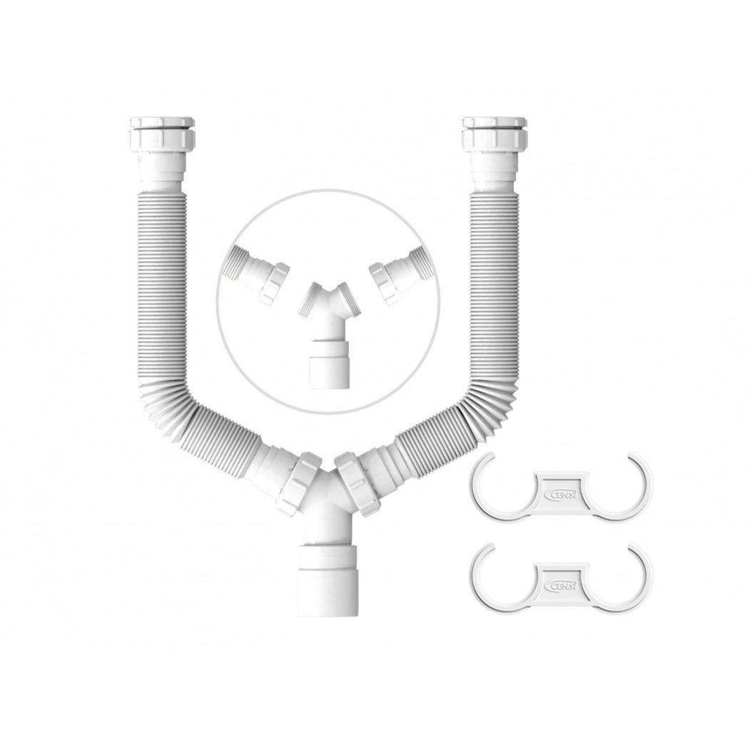 Tubo Duplo para Pia e Lavatorio de Polipropileno - Censi