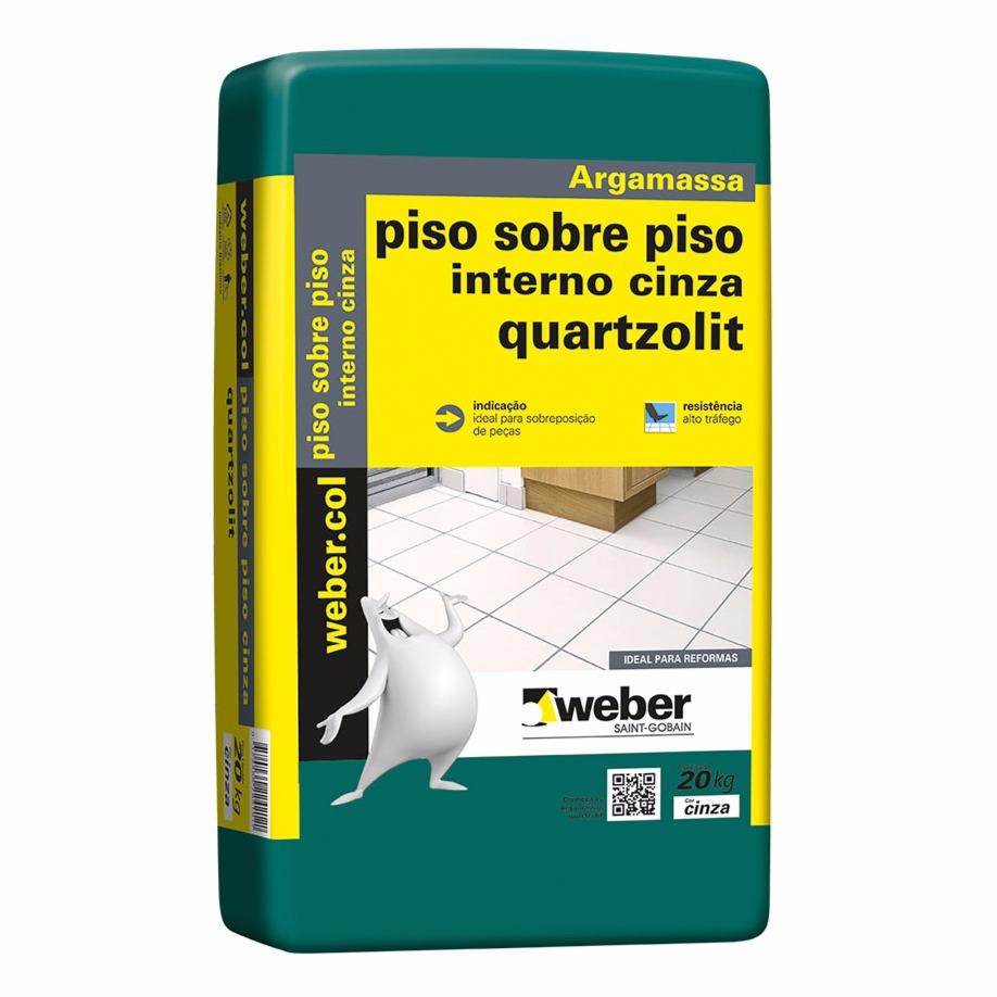 Argamassa PisoPiso Interno Cinza 20kg - Quartzolit
