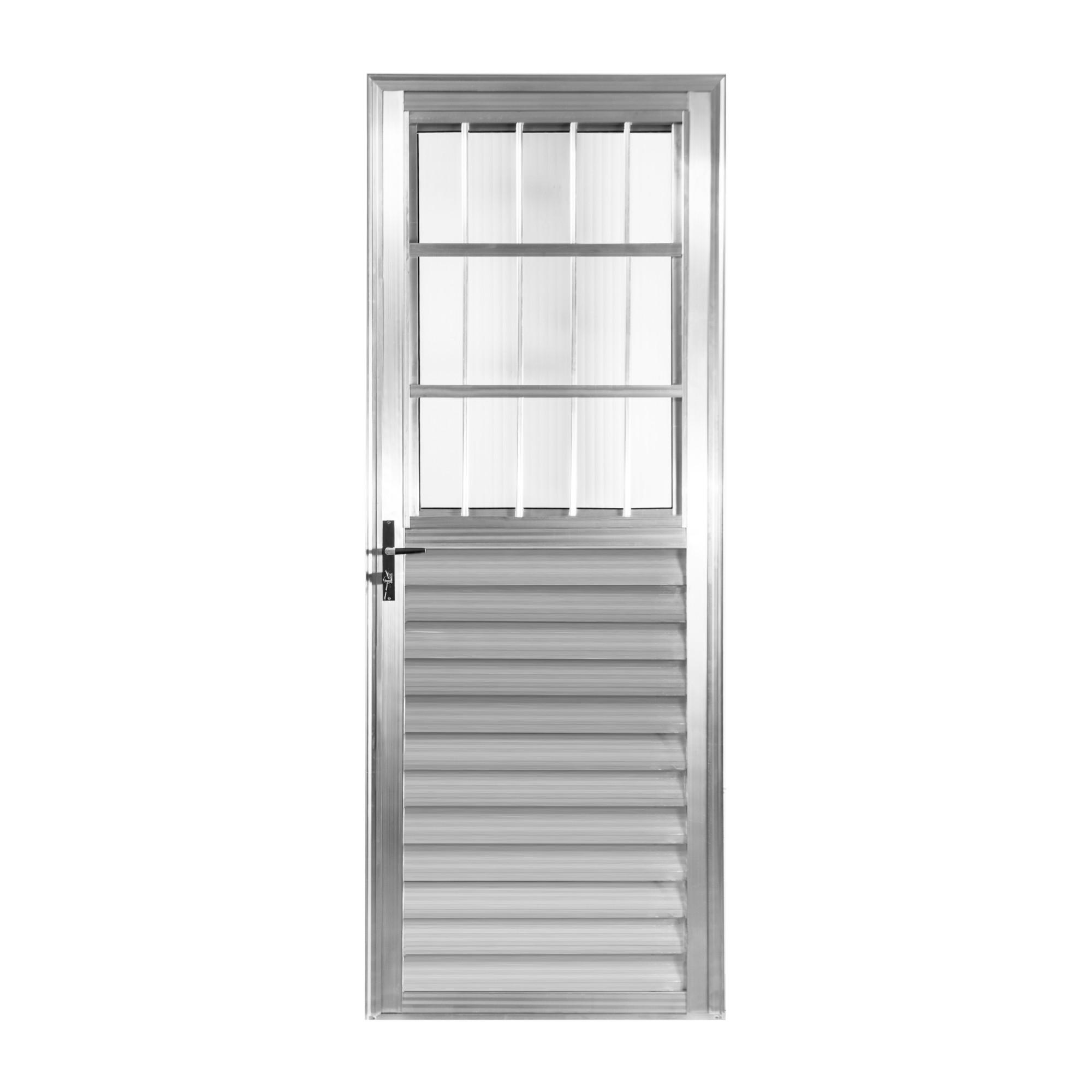 Porta de Abrir de Aluminio 210x80 cm Postigo Lado Direito - Aluvid