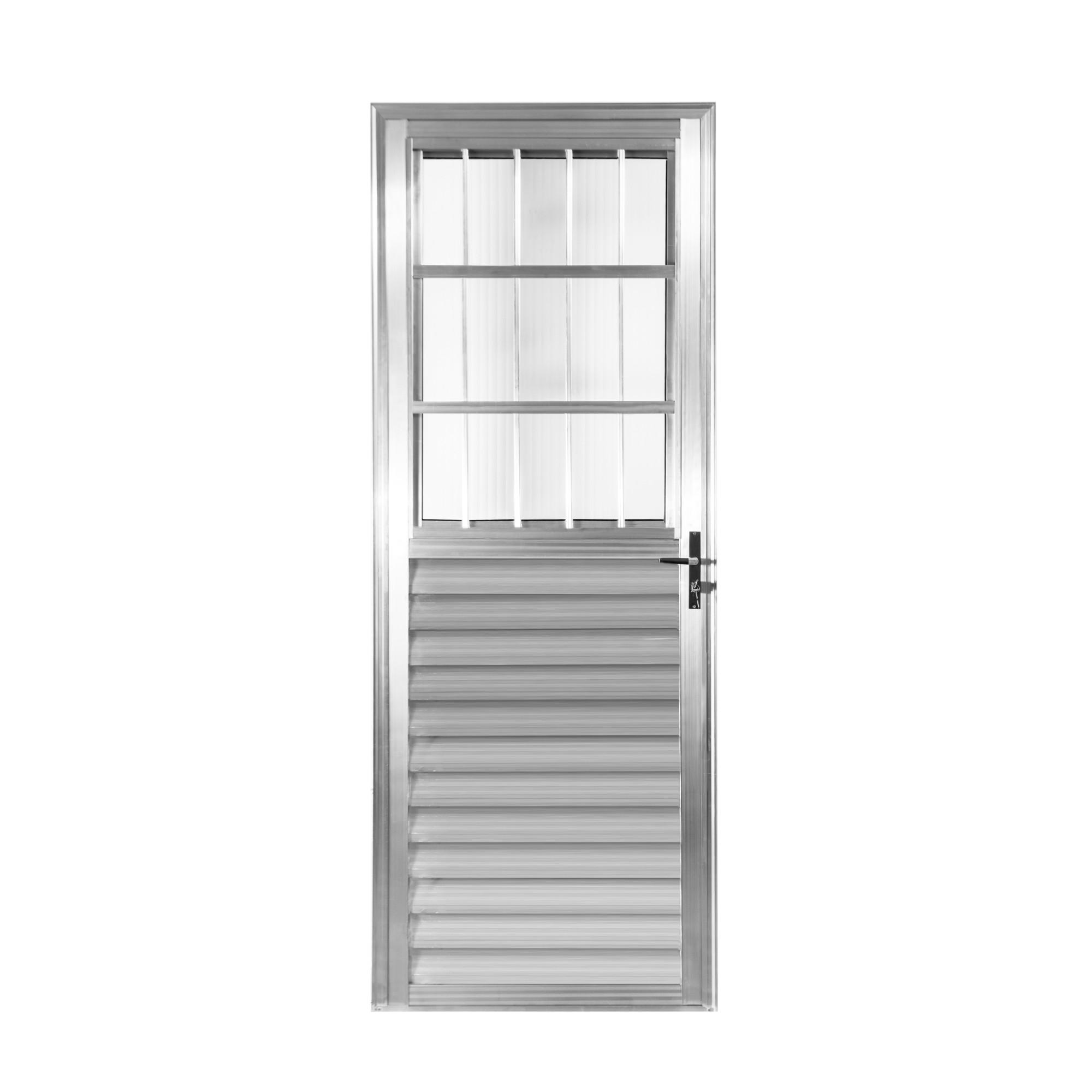 Porta de Abrir de Aluminio 210 x 80 cm Postigo Lado Esquerdo - 1019 - Aluvid