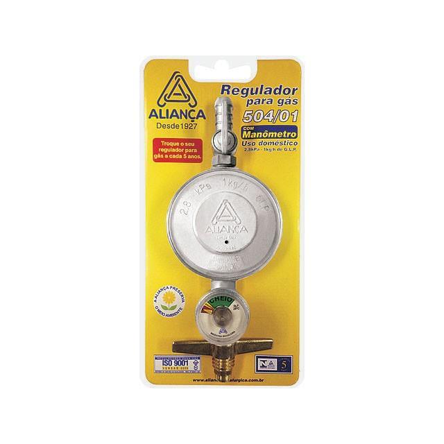 Regulador de Gas Domestico com Manometro 1 Kg GPL - Alianca